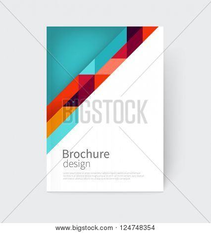 Cover design. Brochure, flyer, annual report cover template. a4 size. modern Geometric Abstract background. blue, yellow and red diagonal lines. vector-stock illustration EPS 10
