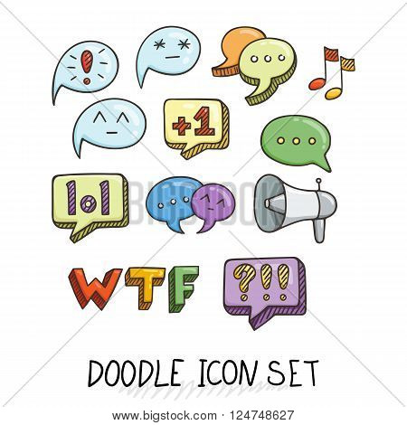 Set of Universal Doodle Icons. Bright Colors and Variety of Topics. Communication, Social Media, Comments and Ratings, Yada, Chatting.