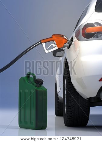 Refuelling the car on a gray background. 3d render