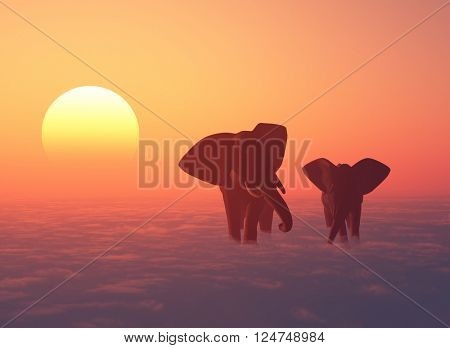 A herd of elephants in the clouds.,3d render