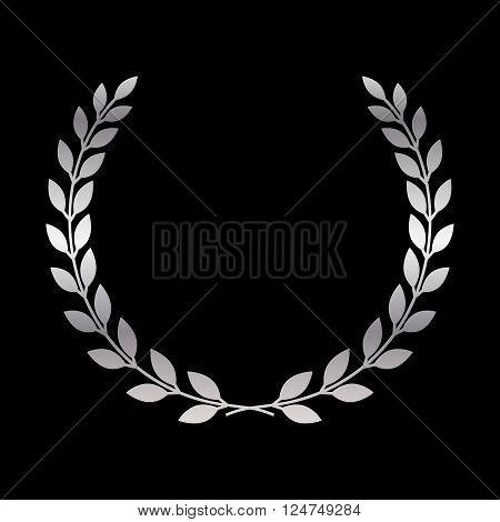 Silver laurel wreath icon. Symbol award trophy victory winner prize. Branch olive sign. Design element for decoration medal coat of arms logo. Leaf silhouette black background Vector illustration