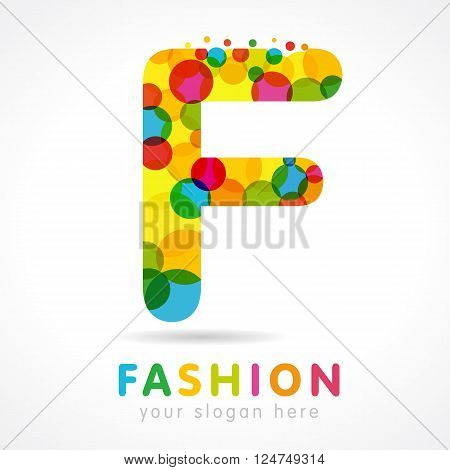 Letter F colorful bubble logo icon design template element. Colored F fashion logo