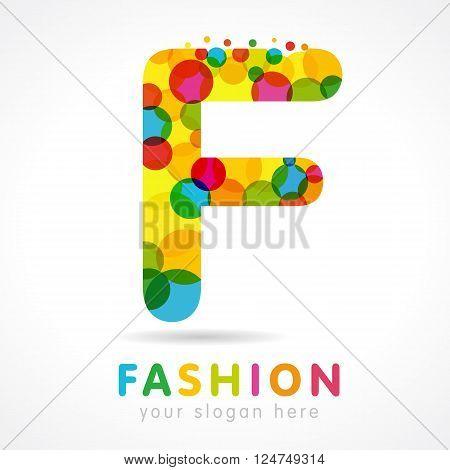 Letter F colorful bubble logo icon design template element. Colored F fashion logo