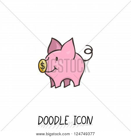 Vector icon with doodle piggy bank. Money pig for savings.