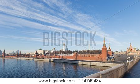 View of the Kremlin and Vasilevsky descent from the Great Moscow River bridge see the architectural ensemble of the Moscow Kremlin and St. Basil's Cathedral