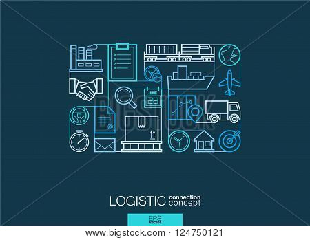 Logistic integrated thin line symbols. Modern linear style vector concept, with connected flat design icons. Illustration for delivery, service, shipping, distribution, transport, communicate concepts