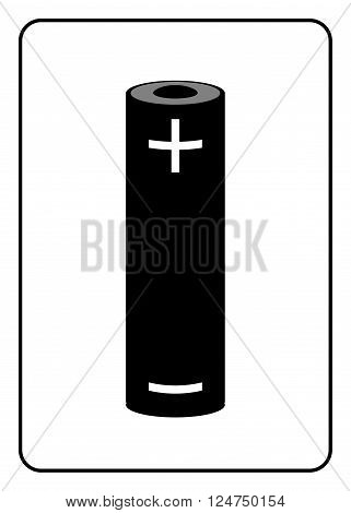 Battery icon. Black sign isolated on white background. Symbol of energy electricity charger and power charge generation. Design element. Label for supply. Alkaline accumulator. Vector illustration