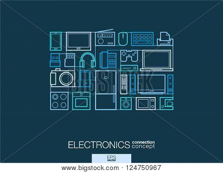 Electronics integrated thin line symbols. Modern linear style vector concept, with connected flat design icons. Abstract background illustration for multimedia shop, household and market concepts