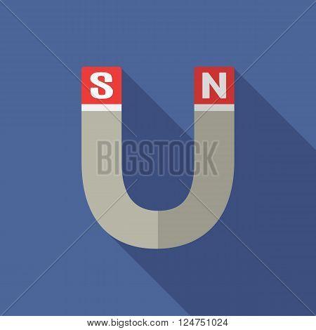 Neodymium magnet. Vector flat design. Vector design