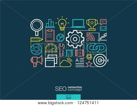SEO integrated thin line symbols. Modern linear style vector concept, with connected flat design icons. Abstract background illustration for digital network, analytics, social media and market concept