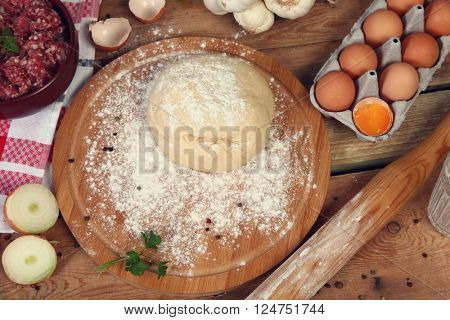 Russian traditional pelmeni with meat