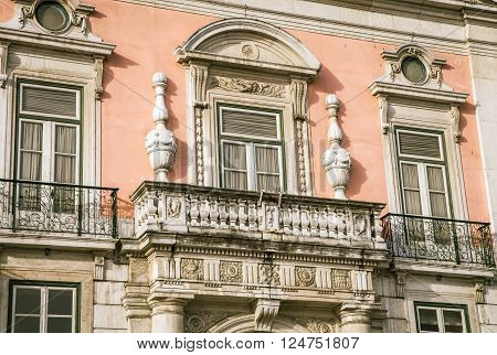 Ornate window and balcony in Lisbon Portugal
