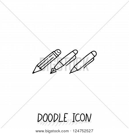 Set of Doodle Writing Utensils. Writing office icons. Pencil, pen, ink pen.