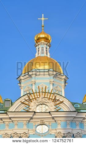 Naval Cathedral of St. Nicholas and the Epiphany in St.Petersburg at sunny evening Russia.