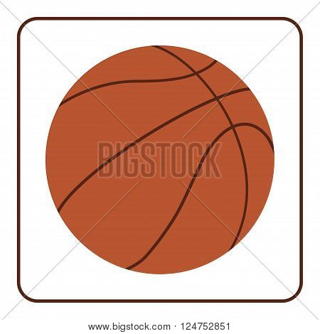 Basketball sign. Basket ball icon. Orange color silhouette isolated on white background. Sport equipment. Symbol game team fitness or competition play activity. Design element Vector Illustration