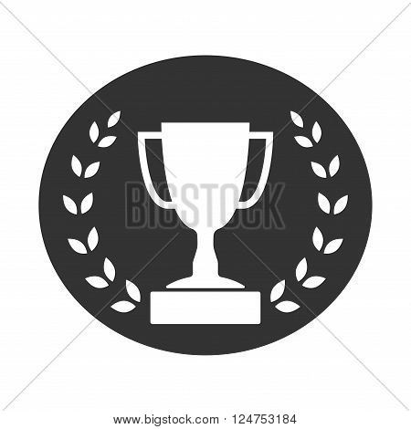 Trophy cup with Laurel wreath icon. Award sport sign. Symbol of winner competition champion best victory emblem. White sign in frame on gray background. Isolated design element. Vector illustration