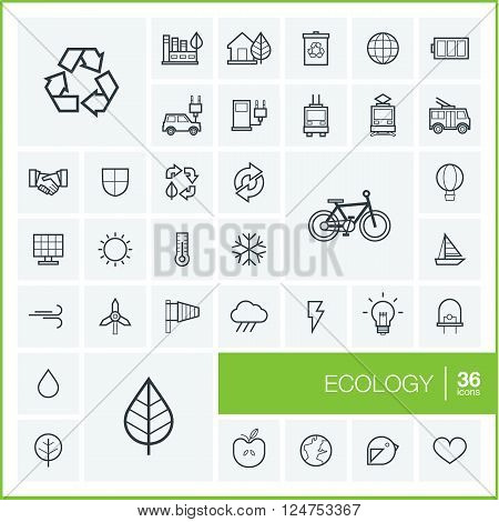 Vector thin line icons set and graphic design elements. Illustration with ecology outline symbols. Eco, bio, environmental, recycle linear pictogram