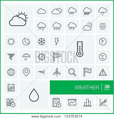 Vector thin line icons set and graphic design elements. Illustration with meteo outline symbols. Weather cast, cloud, rain, snow, moon, thermometer, umbrella linear pictogram