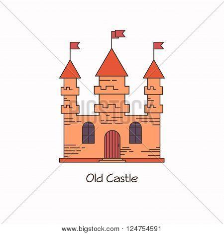 Old european architecture castle lineart flat vector illustration.