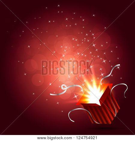 Magic box. Gift red box. Christmas lights. Vector illustration
