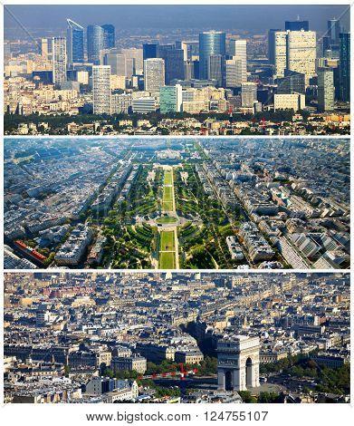 Collage set of Paris images. France, Paris