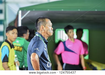 BANGKOK THAILAND-FEB 32014 : Newin Chidchob president of buriram united in action during the competition 2014 Thai premier league between ARMY UTD vs BURIRAM UTD at Army stadium on FEB 32014