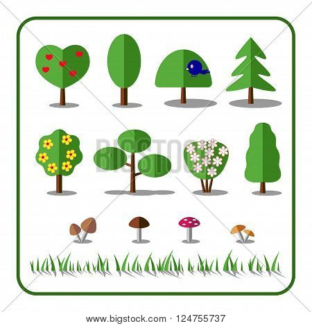 Tree icons set with mushrooms and grass. Nature collection. Flat elements isolated on white background. Include pine oak blossom bush. Deciduous trees shrubs. Sprites for game. Vector illustration