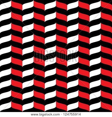 Wavy zig zag seamless pattern. White red and black background. Abstract geometric waves texture. 3d effect. Design template graphic for wallpaper wrapping fabric textile etc. Vector Illustration.