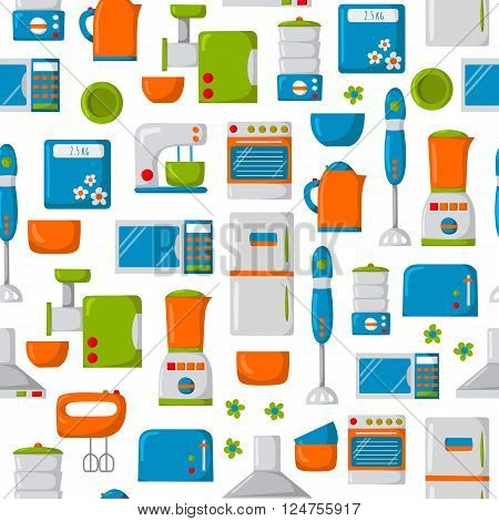 Seamless background with cartoon kitchen appliances. Cute flat style. Kitchen domestic electric equipment