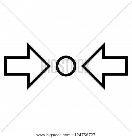 Compress Horizontal vector icon. Style is thin line icon symbol, black color, white background.