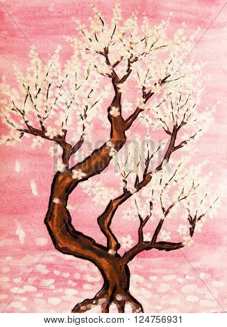 White tree in blossom in pink background painting watercolours and white gouache in traditions of old Chinese painting.