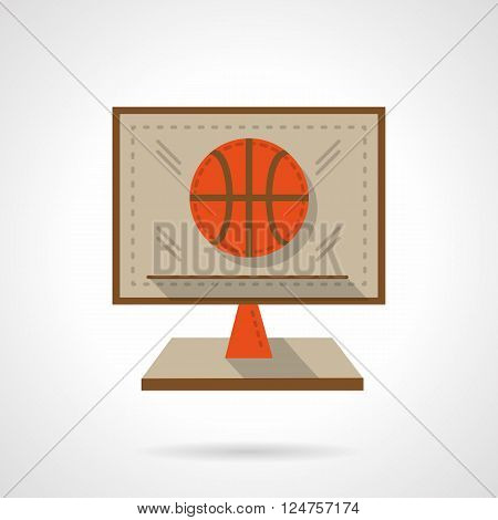 Online sports matches, competitions, tournament. Basketball game. Computer monitor with orange ball.  Flat color style vector icon. Web design element for site, mobile and business.