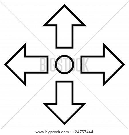 Maximize Arrows vector icon. Style is stroke icon symbol, black color, white background.