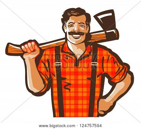 happy carpenter with an axe in his hand. vector illustration