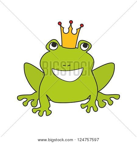 Prince or princess frog with crown vector illustration isolated on white background