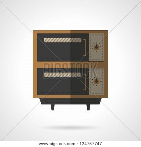 Ovens and stoves theme. Kitchen equipment. Oven for restaurant, bakery and others. Flat color style vector icon. Web design element for site, mobile and business.