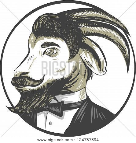 Drawing sketch style illustration of a goat ram with big horns and moustache beard wearing tie tuxedo suit looking to the side set inside circle.