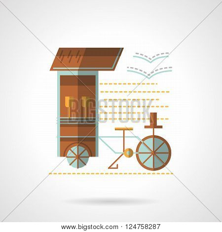 Street trade. Wheel trolley on a sea beach. Mobile drink stall. Flat color style vector icon. Web design element for site, mobile and business.