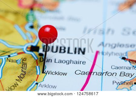 Wicklow pinned on a map of Ireland