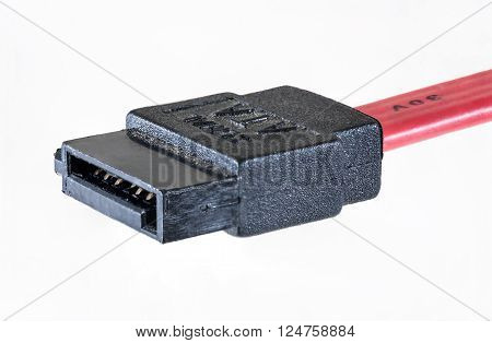 PC SATA hard disk drive cable with connectors. Isolated on white background clipping path