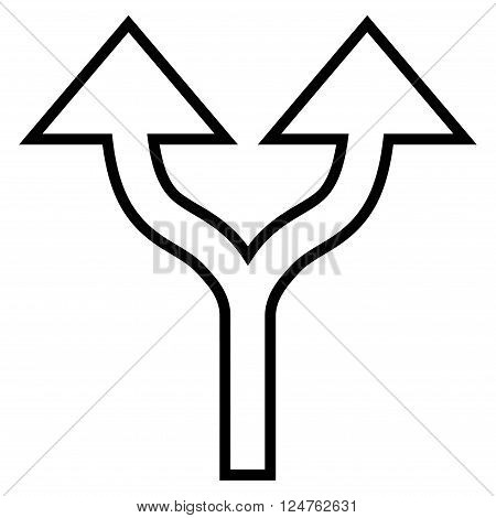 Split Arrows Up vector icon. Style is outline icon symbol, black color, white background.