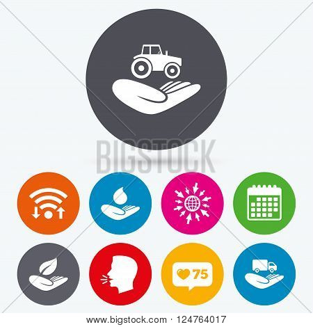 Wifi, like counter and calendar icons. Helping hands icons. Agricultural tractor insurance symbol. Delivery truck sign. Save nature leaf and water drop. Human talk, go to web.