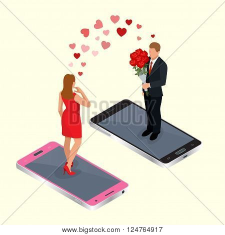 Online dating. Online dating app concept with man and woman. Flat 3d vector isometric illustration. Online  internet dating. Online love concept