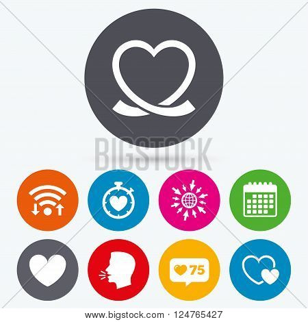 Wifi, like counter and calendar icons. Heart ribbon icon. Timer stopwatch symbol. Love and Heartbeat palpitation signs. Human talk, go to web.