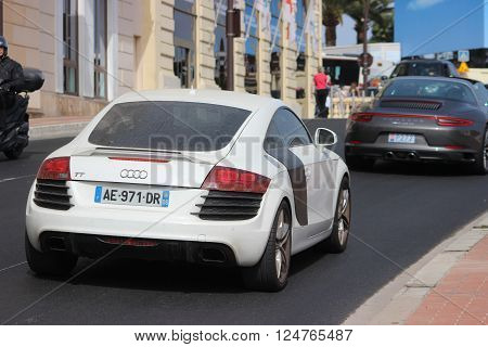 Monte-Carlo Monaco - April 6 2016: Dirty White Sport Car Audi TT (Rear View) on Avenue d'Ostende in Monaco. South of France