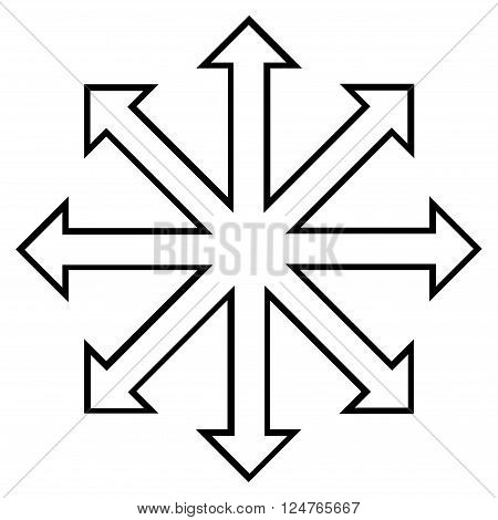 Maximize Arrows vector icon. Style is outline icon symbol, black color, white background.