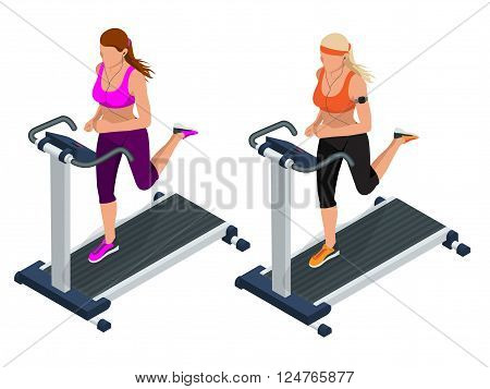 Woman on a running simulator. Pretty girl working out in a treadmill at the gym. Treadmill.  Flat 3d vector isometric illustration