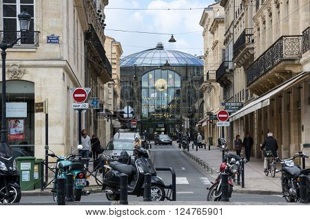 BORDEAUX FRANCE - MAY 06 2015: Urban view in Bordeaux. Bordeaux is a port city on the Garonne river in southwestern France