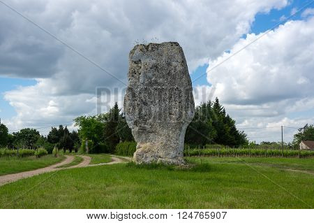 View on prehistoric megalithic menhir in France