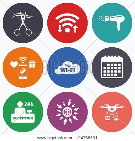 Wifi, mobile payments and drones icons. Hotel services icons. Wi-fi, Hairdryer in room signs. Wireless Network. Hairdresser or barbershop symbol. Reception registration table. Calendar symbol.